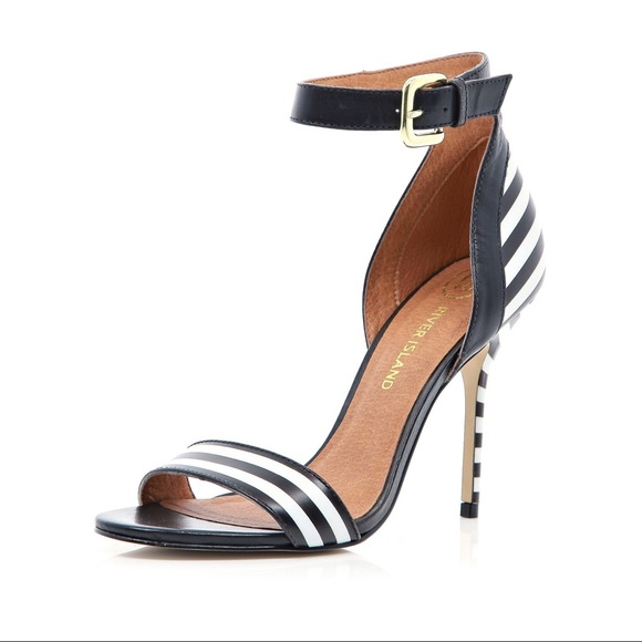 d7fc54f1ac River Island Shoes | Barely There Black White Stripe Heels | Poshmark